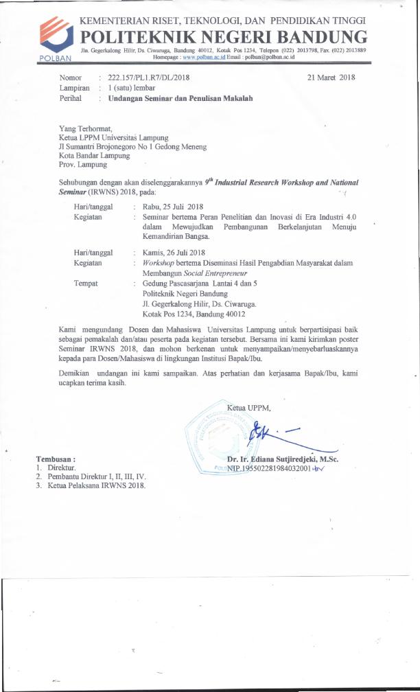 Undangan 9th Industrial Reasearch Workshop and National Seminar 2018 Politeknik Negeri Bandung_001