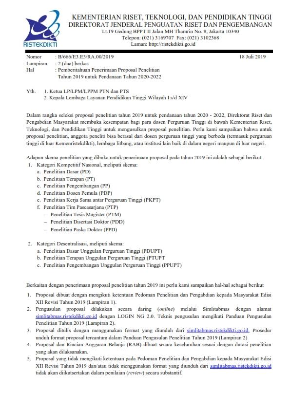 Pemberitahuan Penerimaan Proposal Penelitian Tahun 2019 untuk Pendanaan Tahun 2020-2022_001